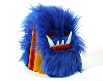 Children's monster journal Worry Woolie a blue red fuzzy magical book