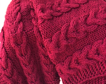 """Blanket Red Large Bulky Handmade Cable-knitted  60"""" x 52"""" Free Shipping"""