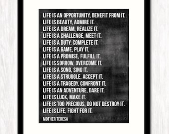 Inspirational Quote Print, Typographic Poster, Mother Teresa, Life is Quote, CHOOSE Your BACKGROUND COLOR
