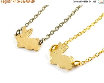 20%OFF SALE Easter Gift, Gold Bunny Rabbit Necklace, Small Bunny Charm Necklace, Tiny Rabbit Charm Pendant, Choose Antiqued Brass or Gold Pl
