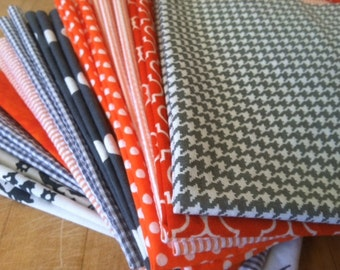 Shades of Grey and Orange Cloth Cocktail Napkins, Wine, Cheese, Hors d' oeuvres, Appetizer, Set of 6, by CHOW with ME