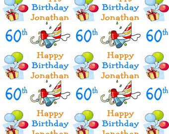 Personalised Birthday Wrapping Paper 60th Gift Wrap With Own Name Any Age