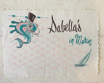 Vintage Sabella's in Marin Unused Paper Placemat - Mid Century Modern Design, Restaurant Memorabilia, Advertising Collectible