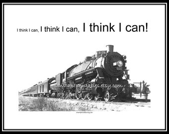SALE I think I can Train Vintage Encouragement Gift Daughter Son Inspirational INSTANT Download Wall Art Decor Print 1/2 price