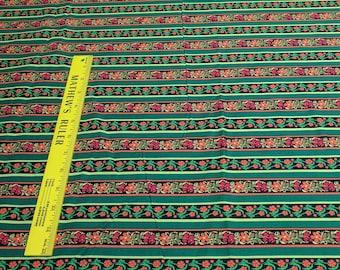 Flower Striped Cotton Fabric