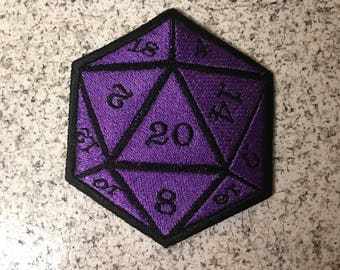 """Iron-On Patch: 3"""" D20"""