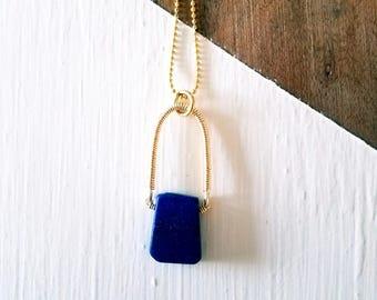 Lapis Drop Pendant, Wire Wrapped Pendant, Beaded Jewelry, Handmade