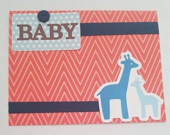 Baby Boy and Giraffes 2 Card
