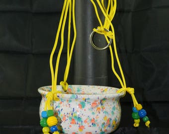 Handmade Ceramic/Pottery Speckled Hanging Planter