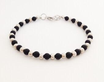Black onyx bracelet onyx bead with silver brass bead bracelet 4 mm onyx bead stone bracelet gift