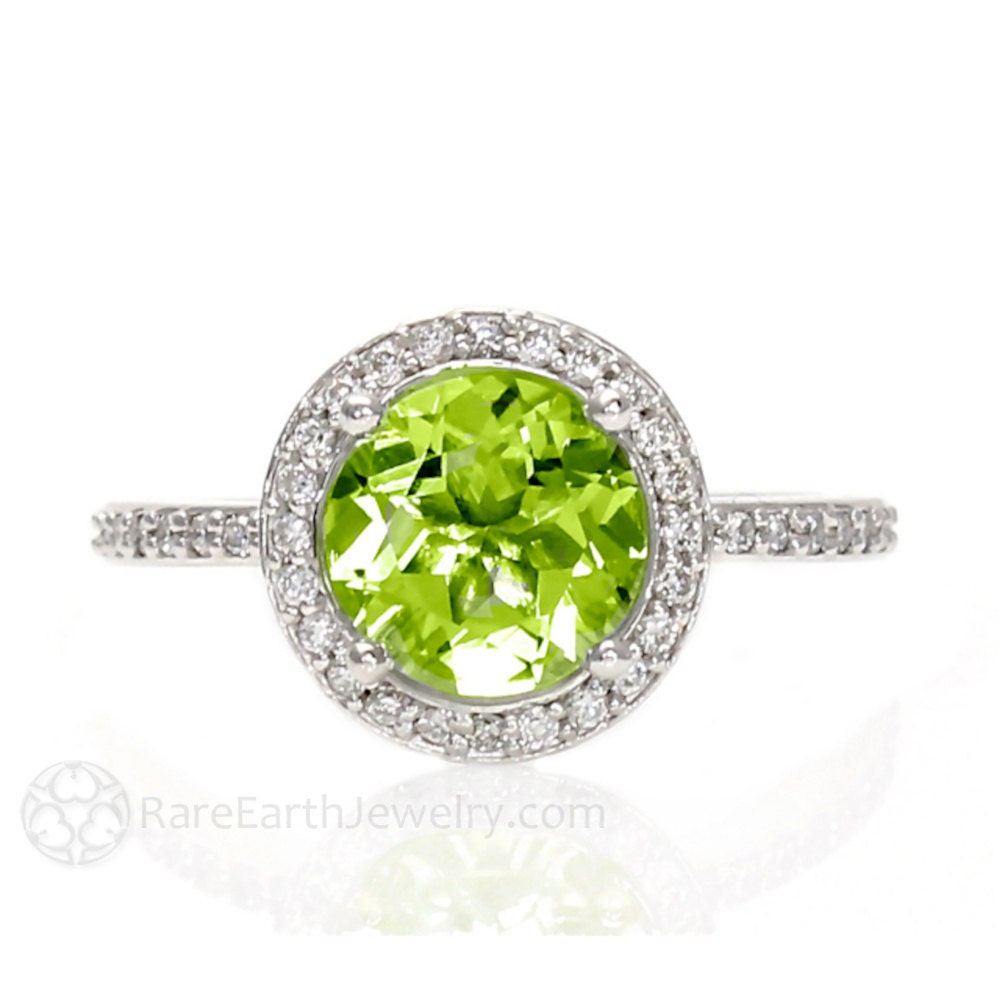 diamond pave engagement halo gold rings peridot ring