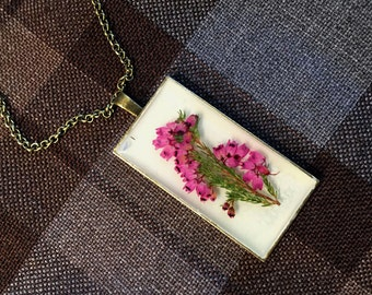 Outlander Scottish Heather Large Pendant Necklace - Jewelry - Copper, Gold or Silver - Forget Me Nots Claire Gabaldon Scotland FT17