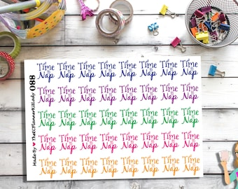 088 - (40- Time to Nap Sticker Set) Planner Sticker, Kiss Cut Stickers
