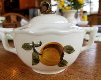 Stangl Sugar Bowl, Sculptured Fruit, Lidded, 1960s, Retro, Kitchen Decor, Very Good Condition