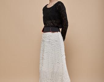 Ivory white skirt- folds midi skirt- Stripes black waist- orange waist lining