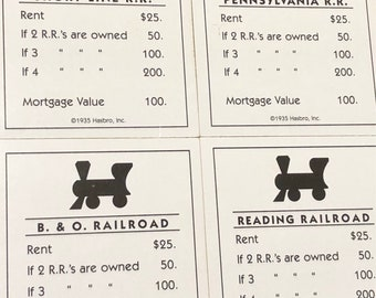 4 Railroad Property Deeds from Standard Edition of Monopoly Game