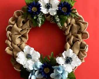 Floral Lace Lined Burlap Wreath