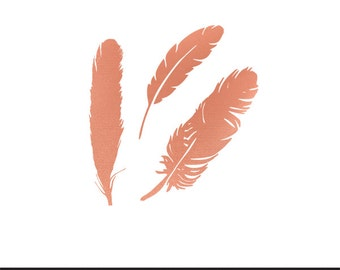 feathers rose gold clip art svg dxf file instant download silhouette cameo cricut digital scrapbooking commercial use