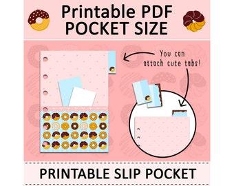 PRINTABLE Pocket Size Slip Pocket Cute Kawaii Doughnuts DIY for Filofax, Kikki.K, Organizer Planner Agenda Instant Download