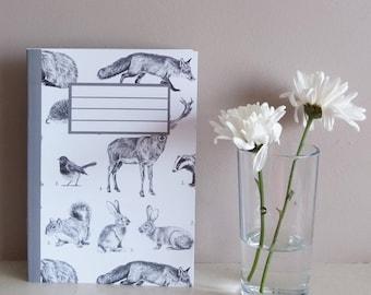 wildlife notebook | wildlife notepad | stationary | animal illustrations stationary | woodland animals notebook