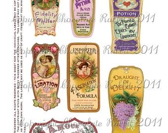 Love Potion Labels, Vintage Style Valentine Labels, Valentine Tags, Vintage Valentine Clipart