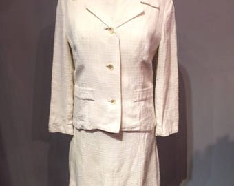 2 Pieces Linen - Silk White Dress & Jacket