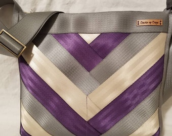 Seatbelt purse seatbelt bag seatbelt crossbody bag recycled seatbelt ladies handbag in purple grey and ivory