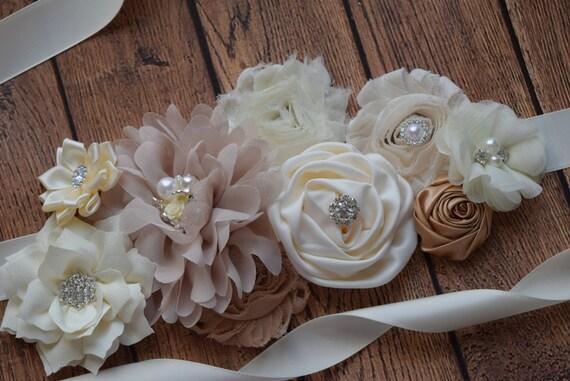 Sash, natural color Sash,  flower Belt, maternity sash, neutral sash, beige tan ivory sash