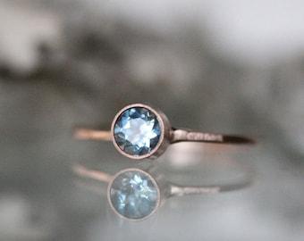Genuine Aquamarine 14K Gold Ring, Gemstone Ring, Stacking Ring, Engagement Ring, Recycled Gold Ring - Custom Made For You
