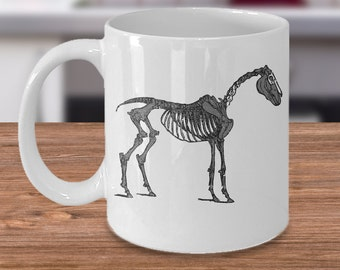 Horse Skeleton Horse Mug / Horse Coffee Cup Tea / Equestrian Gifts / Horse Gift / Gift for Horse Lover / Horse Kitchen / Halloween Horse /