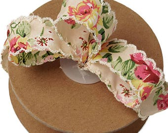 2 yards LUNZA Vintage Floral Ribbon