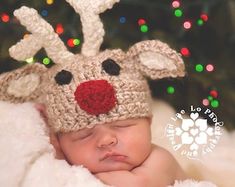 Crochet baby hat, size newborn - Rudolph the Red Nosed Reindeer - an adorable Christmas baby photo prop, made to order