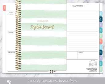 2018 planner calendar choose start month | add monthly tabs weekly student planner personalized agenda | mint green watercolor stripes