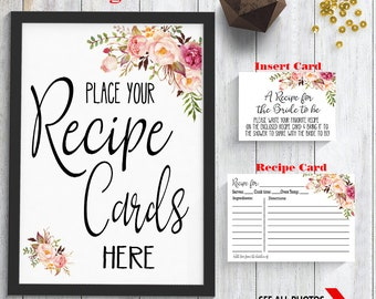 Recipe Card Bridal Shower printable Recipe Card kit Sign, Insert card & recipe card Wedding shower party rustic Instant download 37 G101