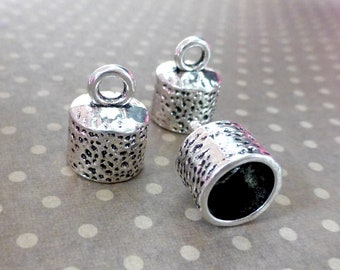 free shipping in UK Pack of 10 Cord End Tips Antique Silver Spotty Fits 10 mm Cord
