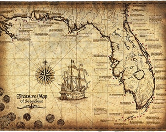 """Treasure Map Of The Southeast Limited Edition, 16"""" x 22"""" Treasure Map, Shipwrecks, Shipwreck Map, Gulf of Mexico, Old Maps, Treasure Coins"""