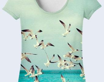Seagulls Tee Shirt, Birds Womens T Shirt, Ladies Top, Beach Clothing, Nature Light Blue Shirt, Crew Neck Shirt