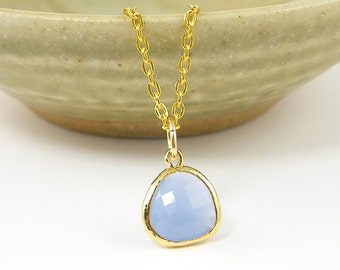 Blue Pendant Necklace, Light Blue Drop Necklace, Periwinkle Necklace, Pale Blue Teardrop Necklace 18 or 20 Inch Gold Plated Chain |BJ2-8