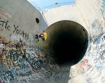 "80s Skate Photo - Chris Miller Baldy Pipe Eighties Skateboarding Photograph 18x24"" Print"
