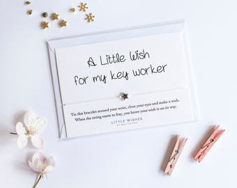 key worker gift, wish bracelet, support worker gift, teacher gift, key worker thank you
