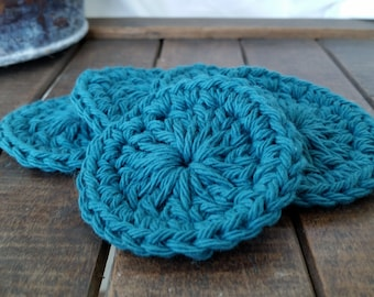 Crochet Teal Facial Scrubbies, Set of 5