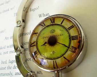 Steampunk Bag/Purse or Hat Hanger (H46) - Vintage Artwork Under Glass - Victorian / Goth Design - Eyeball Clockface
