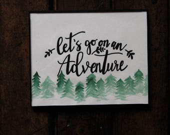 Let's Go On An Adventure/Art Print/8x10/Frame/Watercolor/Quote/Travel/Painting/Wall Hanging/Home Decor