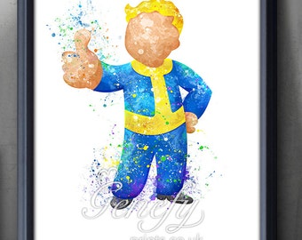 Fallout 4 Vault Boy Watercolor Art Poster Print - Wall Decor - Artwork- Watercolor Painting - Home Decor - Kids Room Decor - Nursery Decor