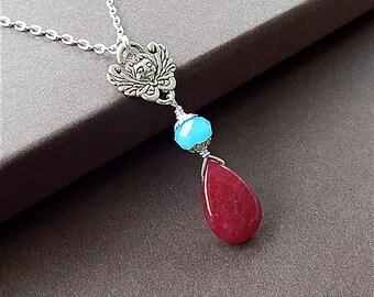 Love's Guardian Silver Cherub Natural Ruby Gemstone Door Knocker Necklace