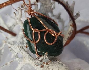 Wire wrapped green Jasper