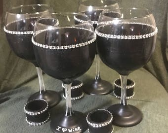 Hand Painted Wine Glass Set of Four