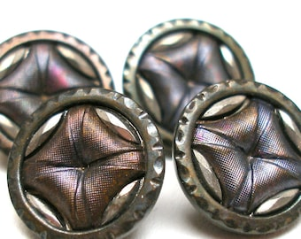 1900s French BUTTONS, 4 Antique Victorian pillow buttons with cut steel, Unused.