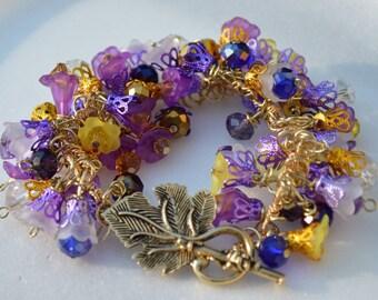 Amerhyst Swarovski Crystal and Lucite Charm Bracelwt