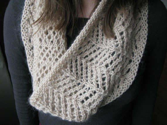 Pattern Lace Cowl Pdf Knitting Pattern Easy Lace Knitting